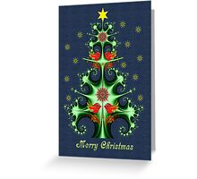 Swirly Christmas tree, birds, snowflakes & text Greeting Card