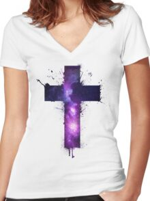 Galaxy Cross Women's Fitted V-Neck T-Shirt