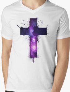 Galaxy Cross Mens V-Neck T-Shirt