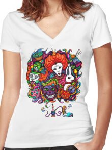 Alice & Hookah Women's Fitted V-Neck T-Shirt