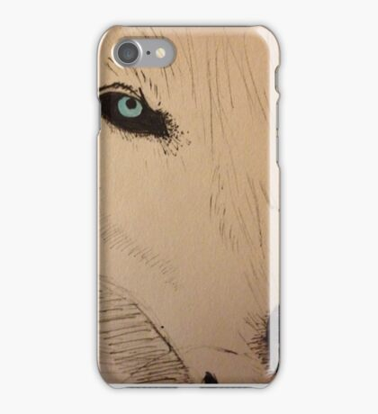 White Wolf with Blue Eyes iPhone Case/Skin