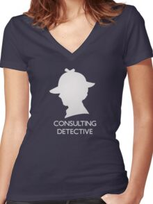 Consulting Detective Sherlock Shirt - Dark Women's Fitted V-Neck T-Shirt