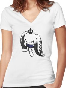 Princess of Spades White Rabbit Women's Fitted V-Neck T-Shirt