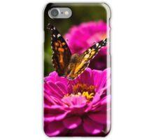 Butterfly and Pink Zinnia - fine art garden photography iPhone Case/Skin