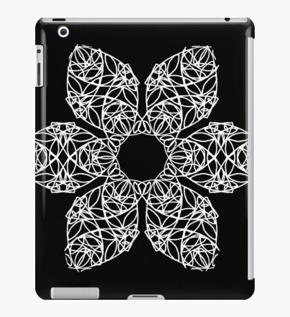 White flower on black iPad Case/Skin