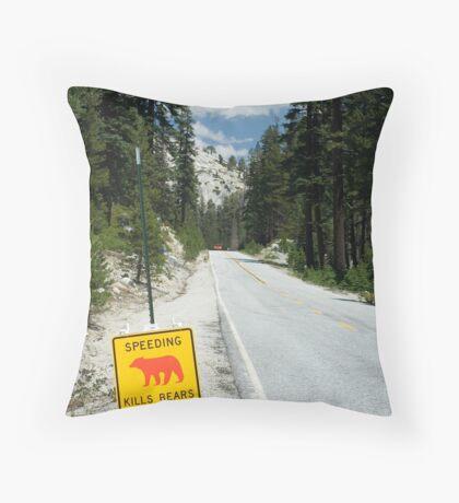 Speeding Kills Bears Throw Pillow
