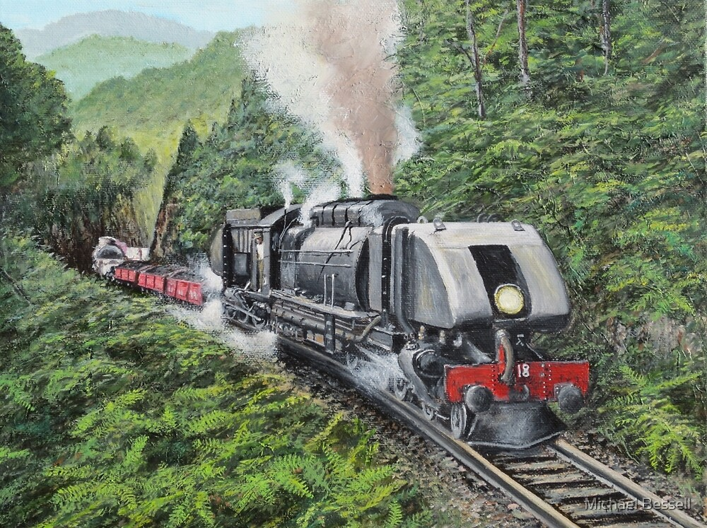 Emu Bay Railway's Goods Train near Pieman River, Tasmania by Michael Bessell