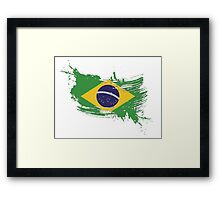 Brazil Flag Brush Splatter Framed Print