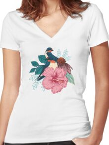 Barn Swallows Women's Fitted V-Neck T-Shirt
