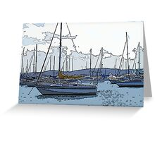 Valentine Moorings - Blue Grey Hues Greeting Card