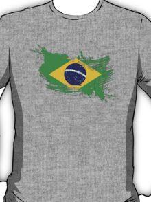 Brazil Flag Brush Splatter T-Shirt