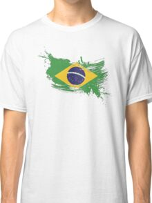 Brazil Flag Brush Splatter Classic T-Shirt
