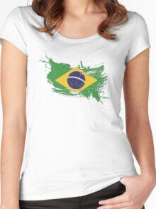 Brazil Flag Brush Splatter Women's Fitted Scoop T-Shirt