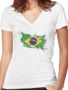 Brazil Flag Brush Splatter Women's Fitted V-Neck T-Shirt