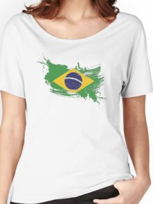 Brazil Flag Brush Splatter Women's Relaxed Fit T-Shirt