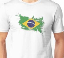 Brazil Flag Brush Splatter Unisex T-Shirt