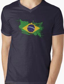 Brazil Flag Brush Splatter Mens V-Neck T-Shirt
