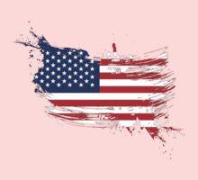 United States of America Flag Brush Splatter Kids Clothes