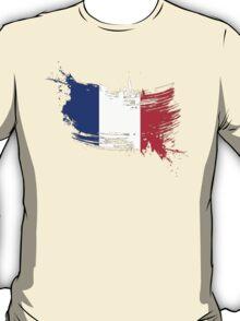 France Flag Brush Splatter T-Shirt