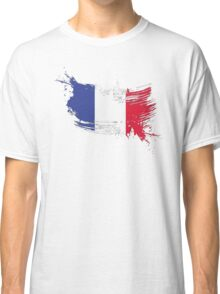 France Flag Brush Splatter Classic T-Shirt