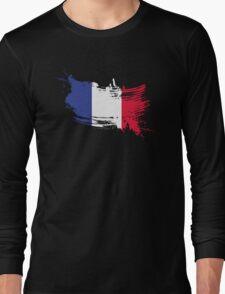 France Flag Brush Splatter Long Sleeve T-Shirt