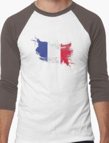 France Flag Brush Splatter Men's Baseball ¾ T-Shirt