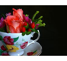 Teacup With Flowers Photographic Print