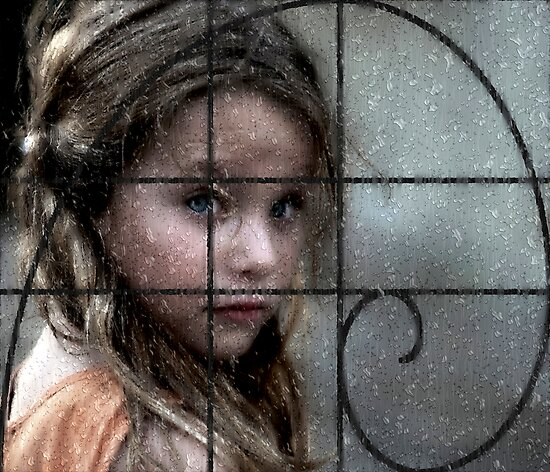 Beautiful little girl thru rails and rainy window by JudyBJ