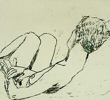 fara monoprint lying face away by donnamalone