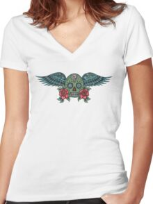 Flying Sugar Skull Women's Fitted V-Neck T-Shirt