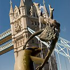 London Tower Bridge , with Dolphin and girl statue by Rob  Ford
