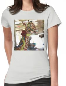 Giraffe on the Carousel Womens Fitted T-Shirt