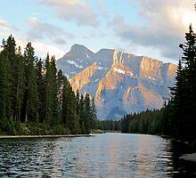 Sunset at Minnewanka Lake, Canadian Rockies, Alberta, Canada by Lena127
