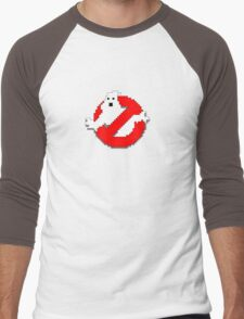 8 bit Ghostbusters logo. Men's Baseball ¾ T-Shirt