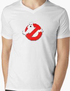 8 bit Ghostbusters logo. Mens V-Neck T-Shirt