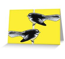 Piwakawaka Pair (on yellow) Greeting Card
