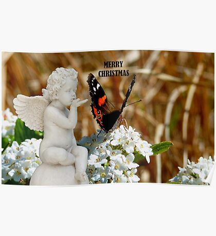 Merry Christmas - Angel & Butterfly - NZ Poster