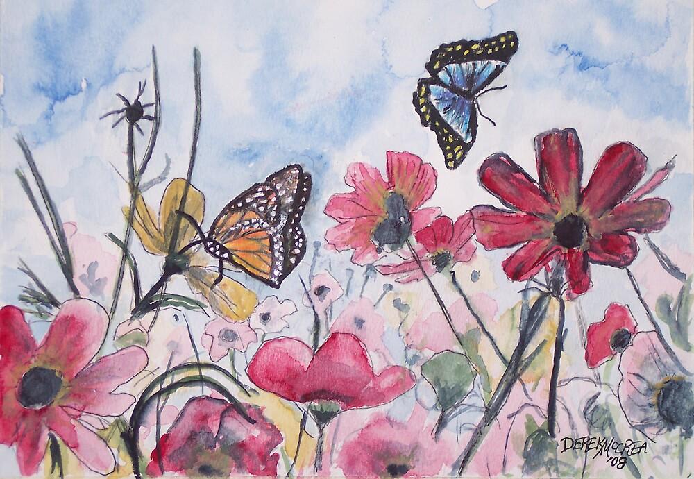 flowers and butterflies 2 by derekmccrea