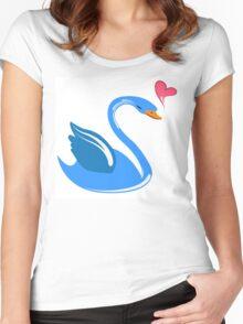 Single cartoon swan in love Women's Fitted Scoop T-Shirt