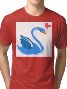 Single cartoon swan in love Tri-blend T-Shirt