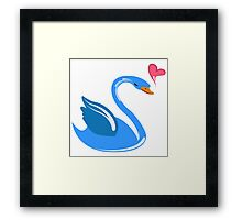 Single cartoon swan in love Framed Print