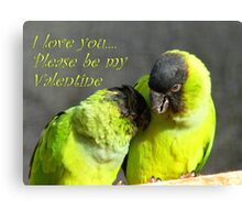 I Love You.. Please Be My Valentine.. - Nanday Conures - NZ Canvas Print