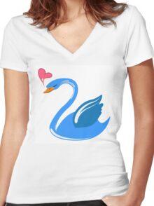 Single cartoon swan in love Women's Fitted V-Neck T-Shirt