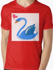 Single cartoon swan in love Mens V-Neck T-Shirt