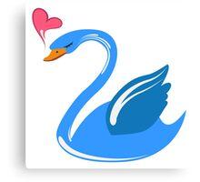 Single cartoon swan in love Canvas Print
