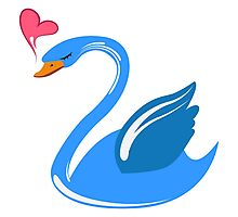 Single cartoon swan in love Photographic Print
