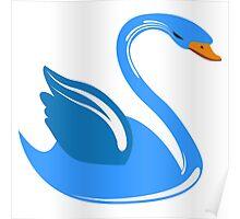 Single cartoon swan Poster