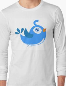 Adorable blue cartoon bird Long Sleeve T-Shirt