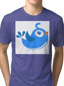 Adorable blue cartoon bird Tri-blend T-Shirt