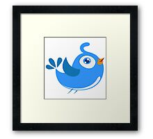 Adorable blue cartoon bird Framed Print